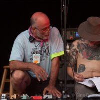 Stage crew conspires at Red Wiing Roots 2017 - photo © Gina Elliott Proulx