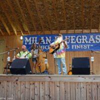 Mark Gaynier hosts an open stage jam session at the 2017 Milan Bluegrass Festival - photo © Bill Warren