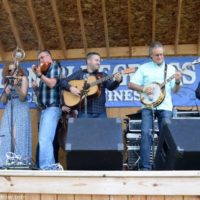 Blake Williams sits in with The Becky Buller Band at the 2017 Milan Bluegrass Festival - photo © Bill Warren