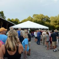 Lining up for the potluck supper at the 2017 Nothin' Fancy Bluegrass Festival - photo © Bill Warren