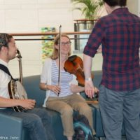 Jamming in the lobby at the 2017 World of Bluegrass in Raleigh, NC - photo © Bill Warren