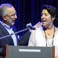 Lauren Gold and Laurie Okun speak at the 2017 World of Bluegrass in Raleigh, NC - photo © Bill Warren