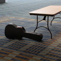 Lone guitar case at the 2017 IBMA World Of Bluegrass in Raleigh - photo by Frank Baker