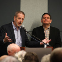 Paul Schimiger and Joe Mullins at the 2017 Town Hall Meeting in Raleigh - photo by Frank Baker