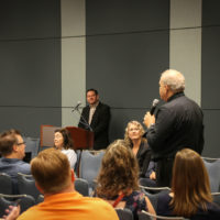 Pete Wernick asks a question at the 2017 IBMA Town Hall Meeting in Raleigh - photo by Frank Baker