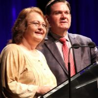 Dale Ann Bradley and Joe Mullins presenting at the 2017 IBMA Awards - photo by Frank Baker