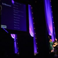 Missy Raines and Jim Hurst play for the roll of deceased bluegrassers at the 2017 IBMA Awards - photo by Frank Baker