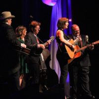 Jerry Douglas, Missy Raines, Tim O'Brien, Molly Tuttle, and Danny Paisley at the 2017 IBMA Awards - photo by Frank Baker