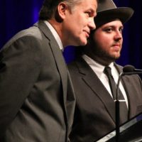 Rob Ickes and Trey Hensley present at the 2017 IBMA Awards - photo by Frank Baker