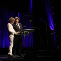 Sam Bush and Jerry Douglas at the 2017 IBMA Awards - photo by Frank Baker