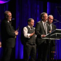 Balsam Range accepting their Album of the Year award at the 2017 IBMA Awards - photo by Frank Baker