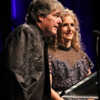 Hosts Béla Fleck and Abigail Washburn at the 2017 IBMA Awards - photo by Frank Baker