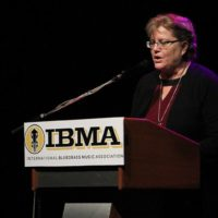 Nancy Cardwell speaks about the Foundation for Bluegras Music at the 2017 IBMA Special Awards luncheon - photo by Frank Baker