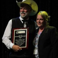 D.A. Calloway and Kimberly Williams accepting Silver Dollar City's 2017 Distinguished Achievement Award from the IBMA - photo by Frank Baker