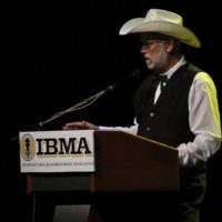D.A. Calloway accepting Silver Dollar City's 2017 Distinguished Achievement Award from the IBMA - photo by Frank Baker