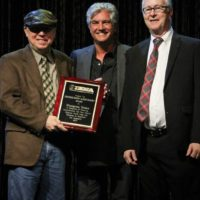 Terry Herd, Jerry Salley, and John Lawless accepting a 2017 Distinguished Achievement Award from the IBMA - photo by Frank Baker