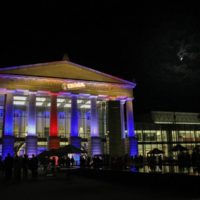 Duke Energy Center for the Performing Arts in Raleigh, decorated for the IBMA Awards Show – photo by Frank Baker