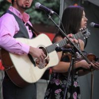 Buddy and Charli Robertson with Flatt Lonesome at the 2017 Wide Open Bluegrass festival - photo by Frank Baker