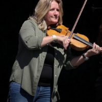 Deanie Richardson with Sister Sadie at the 2017 Wide Open Bluegrass festival - photo by Frank Baker