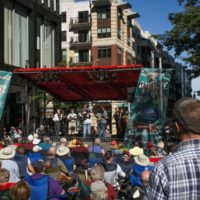 Mark Kuykendall and Bobby Hicks at the 2017 Wide Open Bluegrass StreetFest - photo by Frank Baker