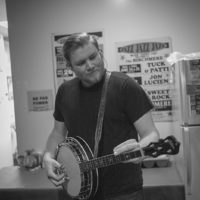 Russ Carson warms up backstage at The Birchmere (1/27/18) - photo by Jeromie Stephens