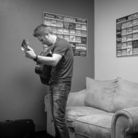 Jake Workman warms up backstage at The Birchmere (1/27/18) - photo by Jeromie Stephens