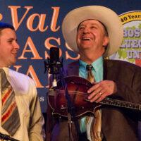 David Davis shares a laugh with the Warrior River Boys at the 2018 Joe Val Bluegrass Festival - photo © Tara Linhardt