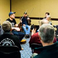 Sammy Lind with Foghorn String Band leads a fiddle workshop at the 2018 Joe Val Bluegrass Festival - photo © Tara Linhardt