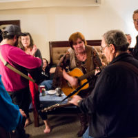 Hotel room jamming at the 2018 Joe Val Bluegrass Festival - photo © Tara Linhardt