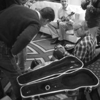 Lobby jam at the 2018 DC Bluegrass Festival - photo by Jeromie Stephens