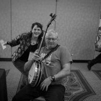 Photobomber Tara Linhardt backstage at the 2018 DC Bluegrass Festival - photo by Jeromie Stephens