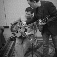 Gaven Largent and Jesse Brock backstage at the 2018 DC Bluegrass Festival - photo by Jeromie Stephens