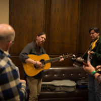 Hallway jam at the 2018 DC Bluegrass Festival - photo by Jeromie Stephens