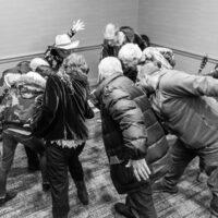 Joe Craven getting folks excited about music at Wintergrass 2018 - photo © Tara Linhardt
