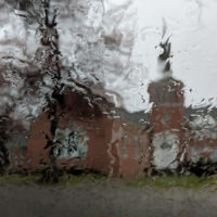 Rain on the windshield outside of Camp Springs United Methodist Church (March 24, 2018) - photo by Becky Johnson