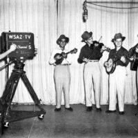 George Woody (camera operator), Pee Wee Lambert, Les Woodie, Ralph Stanley, and Carter Stanley at WSAZ circa 1950