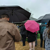 Rain and sleet at Hazel Smith's burial (March 24, 2018) - photo by Becky Johnson