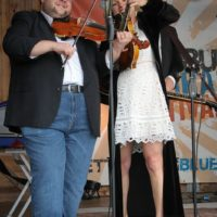 Hunter Berry with Rhonda Vincent at the May 2018 Gettysburg Bluegrass Festival - photo by Frank Baker