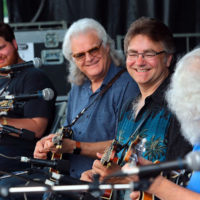 Casey Campbell, Ricky Skaggs, Ronnie McCoury, and David Grisman at the mandolin extravaganza at DelFest 2018 - photo by Stuart Dahne