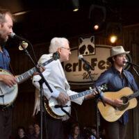 Graham Sharp & Woody Platt of the Steep Canyon Rangers with Steve Martin @ MerleFest 2018, Sunday, April 29th on Watson Stage - Photo by Alisa B. Cherry