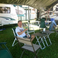 Rich Heepe relaxing at his campsite at Jenny Brook 2018 - photo by Darcy Cahill