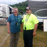 Promoter Seth Sawyer and long time friend and volunteer Kenny Whiton at Jenny Brook 2018 - photo by Darcy Cahill