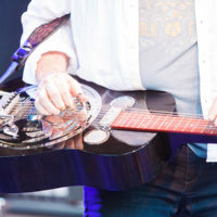 Jerry Douglas and his hot-rodded guitar at Rooster Walk 2018 - photo © Gina Elliott Proulx