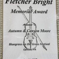 Fletcher Bright Memorial award presented to Buffalo Mountain Bluegrass at Bluegrass on the Grass 2018 - photo by Frank Baker
