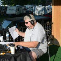 FM 98.3's Jeff Tuttle broadcasts live from the 2018 Milan Bluegrass Festival - photo © Bill Warren