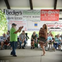 MC Jerry Eicher takes to the dance floor at the 2018 Blissfield Bluegrass on the River - photo © Bill Warren