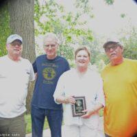 Ron Benton, Charlie Roehrig, Karen Hertenstein, and Bill Warren at the 2018 Blissfield Bluegrass on the River - photo © Bill Warren