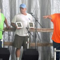 Ron Benton and Bill Warren accepting Hall of Honor for Bob and Jimmy Campbell at the 2018 Blissfield Bluegrass on the River - photo © Bill Warren