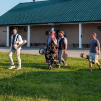 The River Bones Band heads to the main stage for the Telefunken Band Competition at the 2018 Podunk Bluegrass Festival - photo by Dale Cahill