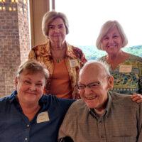 Katy Daley, Mary Doub, George McCeney, and Kitsy Kuykendall at George's July reception